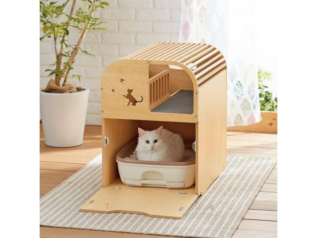 家の中に猫砂が飛散するのを防ぎたい飼い主さんに。二階建て木製トイレカバー「ポートトイレカバー」を発売。(ペット用品の通販ショップ PEPPY)